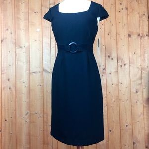 NWT Vintage Black Fitted Midi Cocktail Dress 6